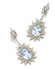 Aquamarine Diamond Pendant Ear Clips, Buccellati