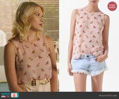 Magnolia's pink fox print top on Hart of Dixie.  Outfit Details: http://wornontv.net/45893/ #HartofDixie