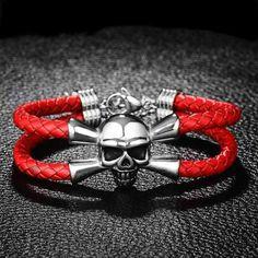 URBAN 316L Bracelet Pirate Cuir Rouge