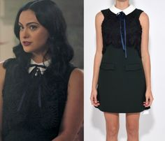14bec57e92b4 Veronica Lodge (Camila Mendes) wears this black laced collared tie neck  dress in this episode of Riverdale