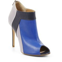 BCBGMAXAZRIA High-Heel Peep-Toe Bootie ($265) ❤ liked on Polyvore featuring shoes, boots, ankle booties, blue, leather booties, short leather boots, leather peep toe bootie, leather boots and leather bootie