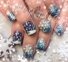 Winter wonderland Christmas nail art