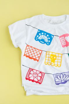 Papel Picado T-Shirts - Handmade Charlotte Diy Craft Projects, Fun Crafts, Tulip Fabric Paint, Festival Shirts, Traditional Ink, Fabric Markers, T Shirt Diy, Animal Quotes, Spring Crafts
