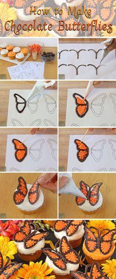 borboletas de chocolates para a mesa