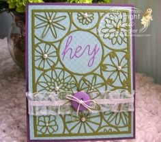 "by Stamping with Bibiana: 1 Background Die from Poppystamps ""mod flower background""card posted at the spanish language blog for Memory Box"
