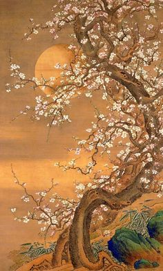 """Pink and white plum blossoms in moonlight : Sō Shizan (Japanese, Edo period Century. Asian Artwork, Japanese Artwork, Japanese Painting, Japanese Prints, Chinese Painting, Chinese Art, Japon Illustration, Art Asiatique, Art Japonais"