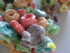 Fruit Loop Treats (like rice krispies but with Fruit Loops) Somebody brought these in for a birthday last year in Logan's class and it became an immediate new favorite. Can't believe I didn't think of it myself, but my kids love this variation!