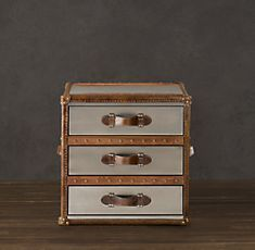 Leather straps brass nails would achieve a campaign for Restoration hardware bedside tables