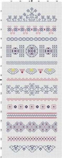 I have created a blackwork band sampler. Altogether it is 65 x 170 stitches, so if you want to stitch it, this is how big your fabric needs . Blackwork Cross Stitch, Blackwork Embroidery, Embroidery Sampler, Cross Stitch Samplers, Cross Stitching, Cross Stitch Embroidery, Embroidery Patterns, Cross Stitch Boarders, Cross Stitch Love