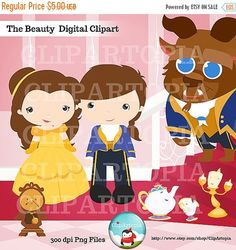 The Beauty Digital Clipart Cute Princess for Card Design, Scrapbooking, Personal…