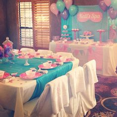 Makeup party girls spa birthday Ideas for 2019 Spa Day Party, Girl Spa Party, Pamper Party, Sleepover Birthday Parties, Birthday Party Tables, Birthday Ideas, 13th Birthday, Happy Birthday, Kids Spa