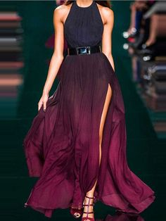 Shop Purple Halter Fade Ruched Backless Maxi Dress from choies.com .Free shipping Worldwide.$22.99