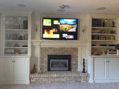 more fireplace bookshelves with cabinets on bottom - these ...