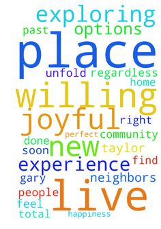 Dear God, I am exploring options for a new place to - Dear God, I am exploring options for a new place to live. Regardless of my past experiences, I am willing for this to be a smooth and joyful experience in every way. Please decide for me and my soon to be husband, Gary Taylor about where it should be, what it should look like and how the details should unfold. Thank You for providing all of the resources, guidance, supplies, perfect timing and helpful people to ensure that I find the…