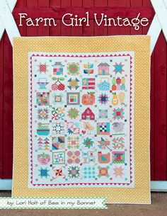 "Farm Girl Vintage by Lori Holt of Bee in my Bonnet. This popular book includes complete instruction for 45 sampler blocks in both 6"" and 12"" sizes. Fourteen projects in all, including ten quilts, two"