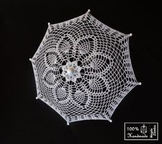 9 Mini White Rainbow Lace Crochet  UMBRELLA PARASOL by kolus79,