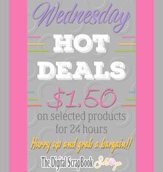 ⏱ Wednesday Hot Deals ~ More than 70 products at only $1.50 ⏱ More info here > http://mailchi.mp/8ea9166fc2bd/tdss-hotdeals ⏱ The Digital ScrapBook Shop > https://tinyurl.com/ydhmugne