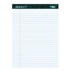 TOPS Docket Writing Tablet, 8-1/2 x 11-3/4 Inches, Perforated, White, Legal/Wide Rule, 50 Sheets per Pad, 12 Pads per Pack (63410)