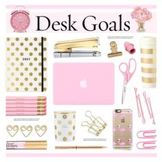 """""""Desk Goals: Pretty Workspaces"""" by lgb321 ❤ liked on Polyvore featuring interior, interiors, interior design, home, home decor, interior decorating, Kate Spade, The French Bee, russell+hazel and House Doctor"""