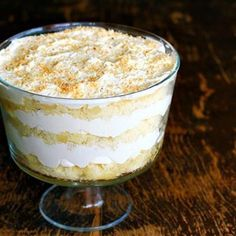 Apparently this Malibu Rum Cake Trifle tastes like boozy Hostess Snoballs. Who knew? It's delicious no matter what it tastes like!