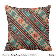 Southwestern Design Turquoise Terracotta Throw Pillow