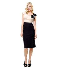 Stop Staring Black & Beige Harlow 40's Style Wiggle Cocktail Dress - S to 3X - Unique Vintage - Cocktail, Pinup, Holiday & Prom Dresses.