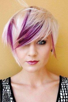 pixie cut short hair platnium blonde with purple foils