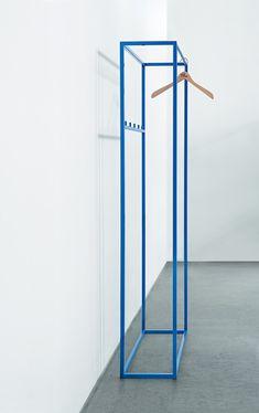Blue powder-coated wardrobe rail by Schellmann design Diy Furniture Renovation, Diy Furniture Cheap, Diy Furniture Hacks, Furniture Legs, Unique Furniture, Barbie Furniture, Garden Furniture, Bedroom Furniture, Metallic Furniture