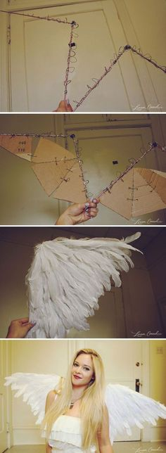 60 ideas diy crafts cheap easy kids christmas for 2019 Costume Ange, Angel Halloween Costumes, Halloween Cosplay, Diy Costumes, Costumes For Women, Angel Halloween Makeup, Costume Women Diy, Diy Angel Costume, Angel Costume Women