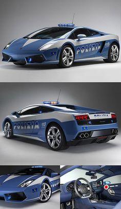 A Lamborghini Gallardo customized specifically for the Polizia di Stato, one of the national police forces of Italy.