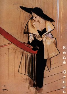 "René Gruau #fashion #illustration | Abito Dior, copertina  de ""L'Officiel de la Couture  et de la Mode de Paris"", ottobre 1948"