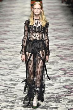 The sexiest dresses from the spring 2016 runways, including this sheer black Gucci floor-length dress. Click to see all the pics!