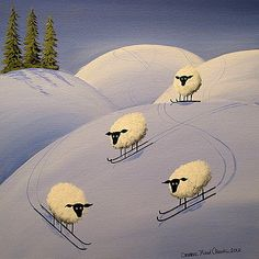 It's All Downhill From Here - folk art by Debbie Criswell