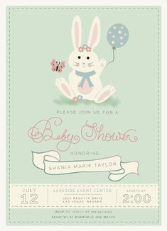 Cute little bunny sending a warm welcome to the baby shower.