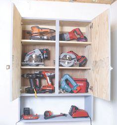 Info: you are viewing best woodworking tools for your shop garage tool storage ideas, is one of the post that listed in the garage design category. Diy Garage Storage Cabinets, Garage Wall Shelving, Garage Organization Systems, Shop Organization, Diy Cabinets, Tool Cabinets, Power Tool Storage, Garden Tool Storage, Power Tools