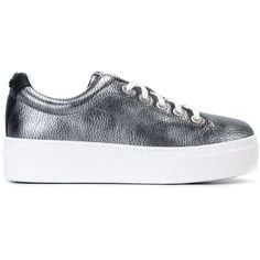 Kenzo Platform Lace-Up Sneakers ($302) ❤ liked on Polyvore featuring shoes, sneakers, metallic, white leather trainers, white trainers, lace up sneakers, white sneakers and white shoes