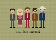 OMG I must buy and stitch ASAP. Pixel People from Anchorman: The Legend of Ron Burgundy by weelittlestitches, Etsy