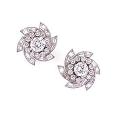 Van Cleef & Arpels Diamond Earrings. circa 1949, signed VCA and numbered 15029. | Symbolic & Chase