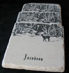 Personalized Winter Morning Tile Coasters  Gift For Him