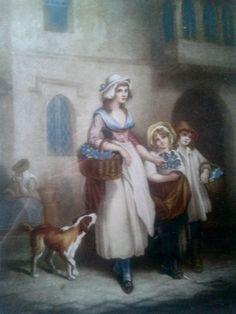 1793 First Plate of The Cries of London The Primrose Seller Artist F. Wheatley 1747-1801 L. Engraver Schiavonetti #sophieladydeparis