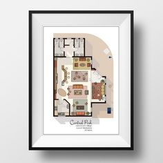 This Central Perk Cafe Floor Plan Art Print is the perfect gift for all Friends TV Show fans. It shows the orange couch where the six main characters always sat on along with the green couch and chairs. It shows the interior layout as well as the curb outdoors where so many memories were made. It shows all tiny details of the Cafe including the counter behind which Gunther stood and is an amazing conversation starter.  It is available in 3 styles to suit your taste and to go perfectly along…