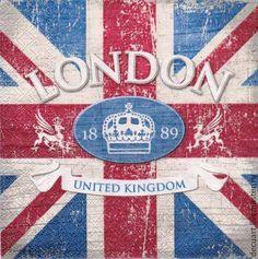 """Салфетка """"LONDON"""" - разноцветный,лондон,Британский флаг,Британия,салфетка для декупажа"""