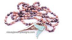 Angel Wing Charm Heart Tassel Czech Glass Handmade Necklace