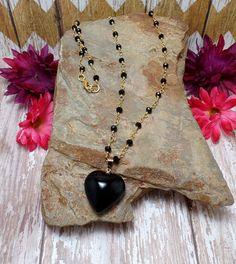 Black Agate Heart Pendant On Black & Gold by BohemianZenBoutique