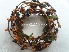 """2"""" Pip Berry Candle Ring BLACK & TAN ~ Country, Primitive, Decor Mini Wreath #Unbranded #countryprimitivecottage"""