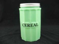 Jadite Cereal Canister with Metal Screw-On Lid