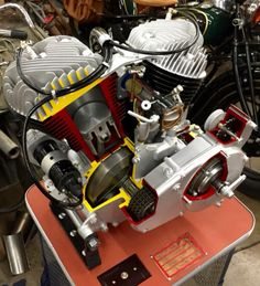 Sweet Indian Chief (cutaway) Motor on stand, set up w/electric motor to watch operation!
