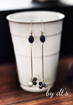 #Gold #Fancy #Earrings with #Pearl and #Sodalite .. #simpy #Cute