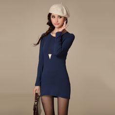New Fashion Winter Mini Women Dress,Autumn Sexy Slim Crew Neck Long Sleeve Casual Dress Vestido Black Dark Blue Khaki Purple