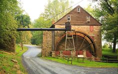 Rock Run Grist Mill, built in 1794 by John Stump, is in Maryland's Susquehanna State Park